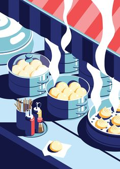 A night out in Seoul - Part 5 - Dumplings Art Print by Coen Pohl Flat Illustration, Graphic Design Illustration, Digital Illustration, Fantasy Illustration, Character Illustration, Watercolor Illustration, Design Graphique, Art Graphique, Graphic Design Posters