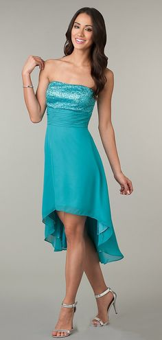 High Low Teal Semi Formal Gown Strapless Empire Sequin Bodice  99.99 Dama  Dresses 01775474c