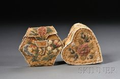 Two Northeast Moose Hair Embroidered Birch Bark It : Lot 394