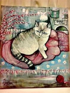 arte naif ,ritratto di Perla (acrilico su tela)