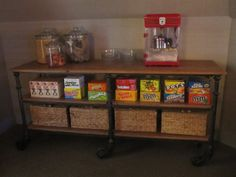 Snack center for a media room