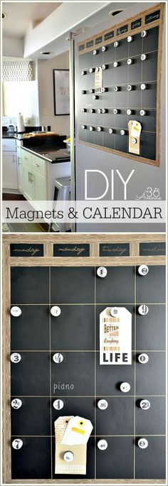 DIY Magnetic Chalkboard Calendar Tutorial at http://the36thavenue.com Easy to make and perfect for the side of the fridge!
