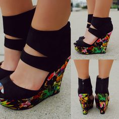 Tropical Solid Straps Zipper Back Wedge FINDER-344, $34.99, UOIOnline.com: Women's Clothing Boutique