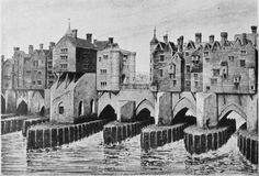 Old London Bridge showing London Square and Remains of St. Old London, Vintage London, London History, British History, Tudor History, European History, Ancient History, American History, Tours Of England
