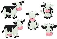 """Amazon.com: Fancy & Decorative {Assorted Sizes 19 - 35mm w/ 2mm Back Hole} 6 Pack of """"Popper Shank"""" Sewing & Craft Buttons Made of Acrylic Resin w/ Unique Kid's Moo Cow Farm Animals Design {Assorted Colors}"""