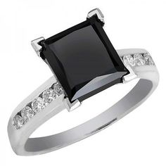 Simple black diamond engagement ring