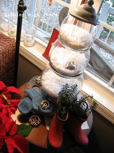Soo adorable for January decor...Fish Bowl Snowman...LOVE the silver heart...makes me think of Valentine's Day-to-come! :-)