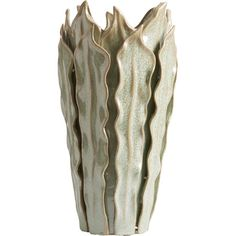 Showcasing a leaf-inspired design and soft green finish, this ceramic vase brings an organic touch to your entryway console table or living room mantel....