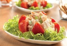 Heart Healthy Chicken Salad-is a low calories, low fat, low sodium, low carbohydrates, low cholesterol, heart-healthy, vitamin-rich, Weight Watchers (4) PointsPlus recipe. It is also an easy, quick 15 minute recipe for a lunch or light dinner. Stuffed tomatoes; using canned chicken breast, tomatoes, celery and onion on shredded lettuce with mayonnaise and yogurt make up this healthy, quick and delicious recipe. Makes 4 generous sized servings.