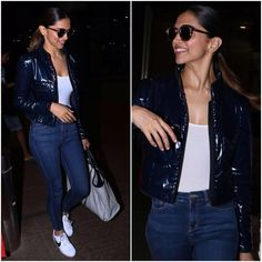 Deepika Padukone spotted at the airport in a @chanelofficial jacket and handbag which she paired…""