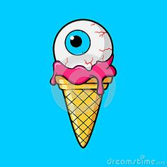 Ice Cream Cone With Eyeball Stock Vector - Image: 83721599 Simple Canvas Paintings, Easy Canvas Art, Small Canvas Art, Mini Canvas Art, Hippie Painting, Trippy Painting, Trippy Drawings, Cool Art Drawings, Graffiti Art