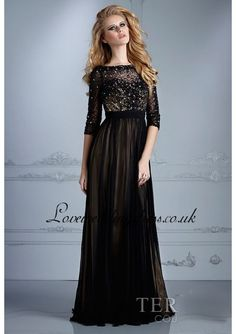 Affordable Black Long Sleeve Beaded Prom Dress With V Back