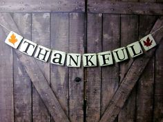 THANKSGIVING Decorations banner THANKFUL by WineCountryBanners, $18.00