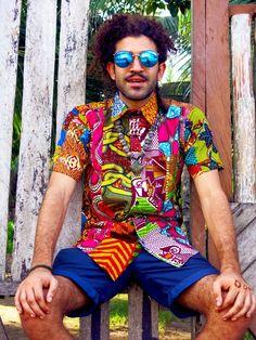 Colour Me Crazy Shirt / Recycled Patchwork Shirt / Mens Festival Shirt / African Print Shirt / Hawaiian shirt / Hippie shirt men / Colourful African Print Shirt, African Shirts, African Clothing For Men, African Men Fashion, Festival Shirts, Festival Outfits, African Street Style, Festival Hippie, Custom Made Clothing