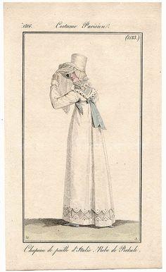 Bonnet veil 1816 Costume parisien