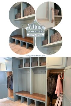 Custom bench seat and storage locker n Koch Cabinetry Capri Drift finish with rub through and Frontier Birch wooden seat. Breezeway remodel by Village Home Stores in a Rock Island Illinois home. | villagehomestores.com Rock Island Illinois, Teal Cabinets, Quad Cities, Breezeway, Bench Seat, At Home Store, Bathroom Inspiration, Color Inspiration, Birch