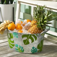 BoHo Palm Leaf Tin Bucket - Project | Plaid Online