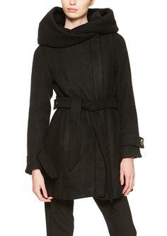 On ideel: STEVE MADDEN Hooded Wool Coat with Belt