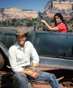 Elvis Presley and leading lady Katy Jurado in a scene from Stay Away Joe.