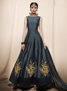 Gray Art Silk Readymade Ankle Length Anarkali Suit 91309