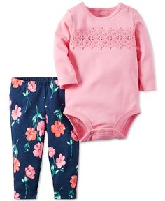 A bright print contrasts beautifully with delicate details on this fun coordinated leggings-and-bodysuit set by Carter's. | Cotton | Machine washable | Imported | Includes 2 pieces: bodysuit and leggi