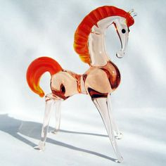 Toy horse hand-made glass figurine