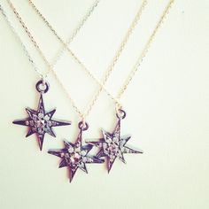 @lauraleejewel 'North Star' necklaces. *swoon* #finejewellery #gold #diamonds #stars