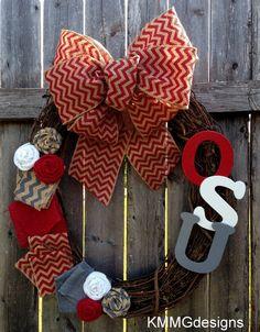 Ohio State University OSU Team Football Wreath by KMMGdesigns, $45.00