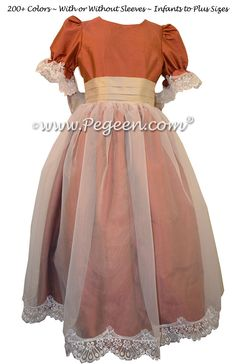 Carrot Orange and Toffee Silk and Organza Nutcracker Party Scene Dress Style 703