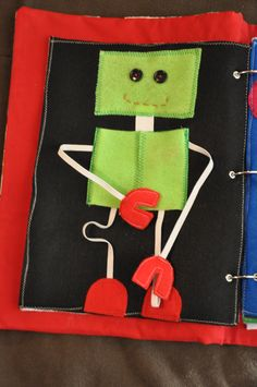 Quiet Book Page - elastic arms and legs and he opens up to see his heart