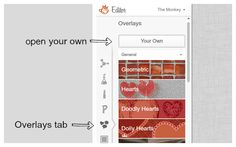 Screen shot of adding your own overlay