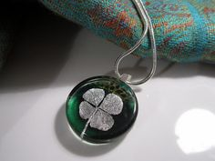 Real FourLeaf Clover Necklace by Chaerea on Etsy