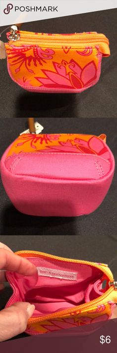 Bath and body works miniature cosmetic bag These are adorable and functional !  Miniature orange, pink and red floral zippered cosmetic case from bath and body works  Wood zipper pull with extra wide bottom creates a real punch !  Very well made  NWT  4.5 x 4.5  x 3 inches  ** I actually have 11 of these - great party favor if u wish to buy more than one **  They were originally bought for that purpose for my daughters birthday party and then we went with another theme **make me an offer on…