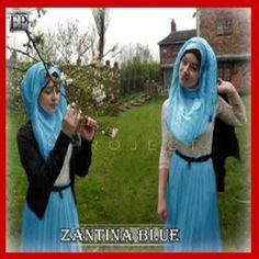 Baju muslim untuk remaja modis gamis zantina blue - Busana Muslim Terbaru