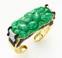David Webb, diamond jadeite and gold bracelet