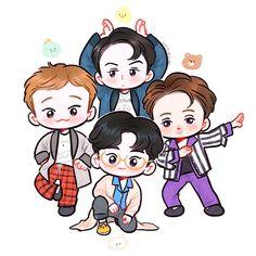 Exo Stickers, Band Stickers, Exo Cartoon, Cartoon Art, Exo Anime, Exo Fan Art, Exo Lockscreen, Kpop Exo, Cute Chibi