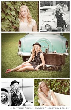 Vintage Senior Pictures love love love the old suitcase with the car. Would be a good pose idea if I'm not allowed to sit on the car that we get. Vintage Senior Pictures, Fall Senior Pictures, Senior Photos Girls, Senior Girls, Girl Photos, Picture Poses, Photo Poses, Picture Ideas, Photo Ideas
