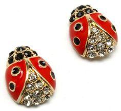 "Precious Crystal Accented Small 1/2"" Red and Black Enamel Ladybug Stud Earrings Gold Plated Earrings by Glamour Girl Gifts. $17.99. Ladybugs are painted with black and red enamel with crystal accents. Comes packaged ready for gift-giving. Earrings measure about 1/2"" wide. Post Backs. Gold plated - Lead and nickel safe"