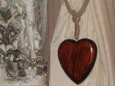WOODEN HEART and JUTE ROPE CURTAIN TIE BACKS PAIR RUSTIC CHIC VINTAGE in Home, Furniture & DIY   eBay
