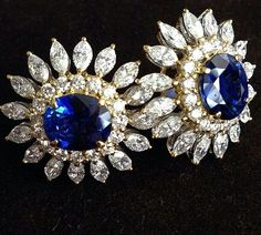 #Thavon Gallery #Sapphire #Diamond #earrings