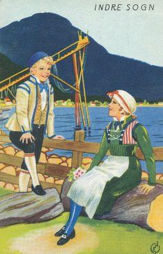 Folkedrakt frå Indre Sogn Old And New, Norway, Scandinavian, Artist, Painting, Fictional Characters, Artists, Painting Art, Paintings