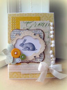 """card critters bunny rabbit bunnies easter spring Easter card #easter #Ostern """"påske bunny rabbit Hasen hare kanin Blomsterbox: Bunny card"""