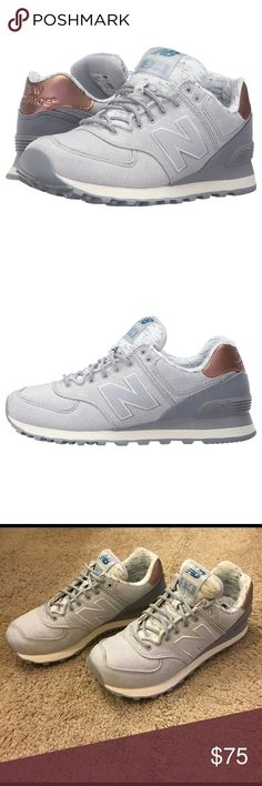 New balance 574 This is basically brand new! Only worn once. Perfect mint condition and beautiful heathered colors with the rose gold look on the back. The N LOGO has sparkle to it :) New Balance Shoes Sneakers