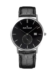 Claude Bernard 65003 3 NIN Men's Watch Swiss Made Black Dial With Black Leather Strap