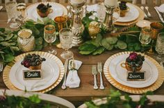 Neutral colors + earthy elements just say FALL in big letters, right? Think feathers, moss, raw wood, and touches of muted gold. And for a fun twist, they added vintage-inspired owl elements, which we think would be so sweet to consider for your fall wedding or Thanksgiving tablescape!