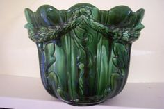 Beautiful Large Antique Victorian Majolica Jardiniere, Ault