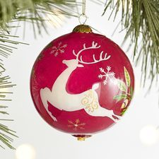 Glass Bulb Christmas Tree Ornament Wood Mounted Rubber Stamp