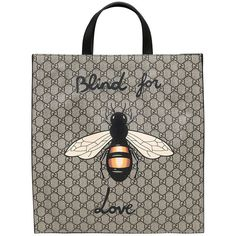 Gucci Men Bee Print Gg Supple Tote Bag ($1,080) ❤ liked on Polyvore featuring men's fashion, men's bags, beige, mens bags and mens tote bag