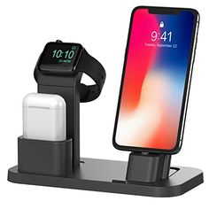 Apple Watch Stand, BEACOO Charging stand Dock Station AirPods Stand Charging Docks Holder, Support Apple Watch NightStand Mode and iPhone with Various Case - Electronics Best Apple Watch, Apple Watch Iphone, Apple Watch Charging Stand, Airpods Apple, Iphone Stand, Iphone 11, Modelos Iphone, Docking Station, Apple Charging Station