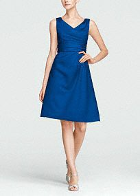 Classy and chic, this timeless style will look great in any bridal party, but will remain a closet staple for years to come. V-neck tank bodice is supportive and flattering. Ruched waist hides any flaws and creates dimension. Satin fabric shapes a short, slim silhouette. Lined bodice. Back zip. Imported polyester. Dry clean only. Available in our exclusive 42 color palette. Get inspired by our colors. Tight decorative gathers which create flattering pleats in the fabric.As the name implies…